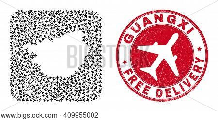 Vector Mosaic Guangxi Province Map Of Air Force Items And Grunge Free Delivery Seal.
