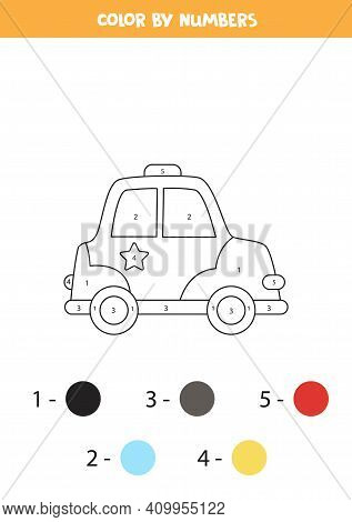 Color Cartoon Police Car By Numbers. Transportation Worksheet.