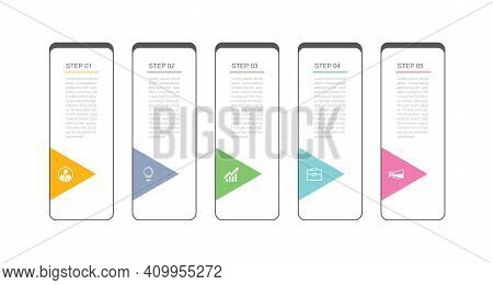 5 Data Infographics Tab Index Thin Line Template Design. Illustration Abstract Background. Can Be Us