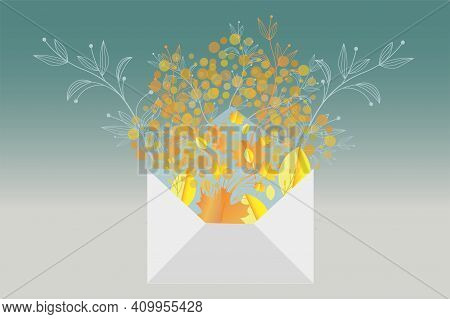Spring Concept Design Showing New Growth Coming From An Envelope With Colorful Leaves And Plants Eme