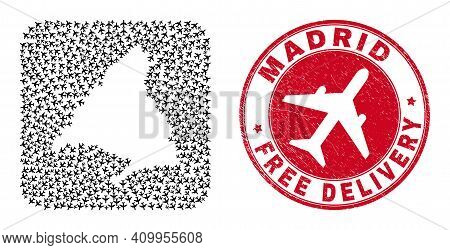 Vector Mosaic Madrid Province Map Of Air Force Items And Grunge Free Delivery Badge. Mosaic Geograph
