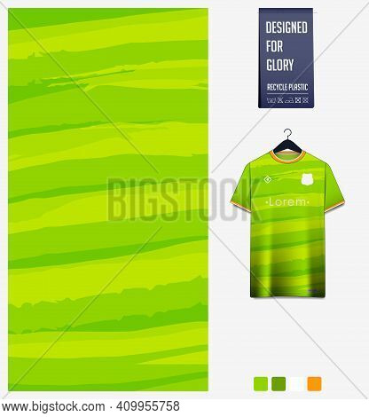 Fabric Pattern Design. Abstract Pattern On Green Background For Soccer Jersey, Football Kit, Bicycle