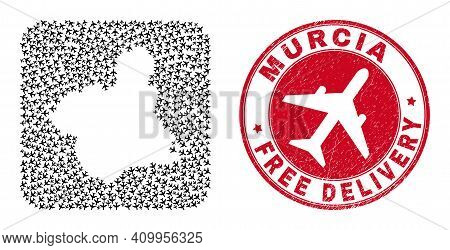 Vector Collage Murcia Province Map Of Air Plane Items And Grunge Free Delivery Seal. Collage Geograp
