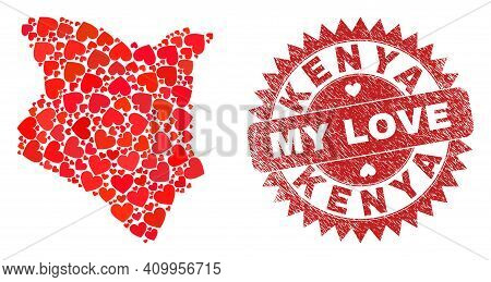Vector Collage Kenya Map Of Love Heart Items And Grunge My Love Stamp. Collage Geographic Kenya Map