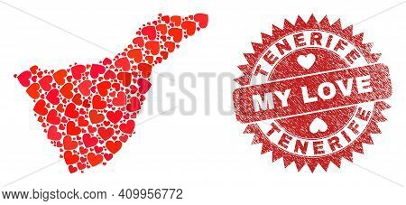 Vector Mosaic Tenerife Map Of Lovely Heart Items And Grunge My Love Badge. Mosaic Geographic Tenerif