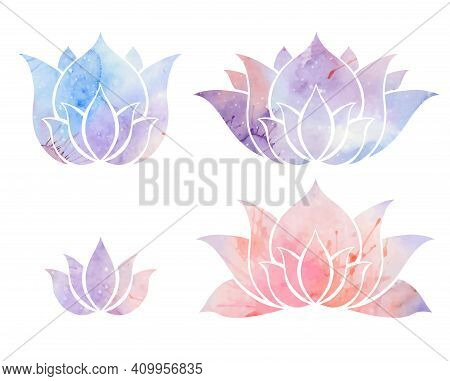 Set Of Silhouettes Of Watercolor Lotuses. Purple And Pink Water Lilies. Vector Flowers For Logos, Ic