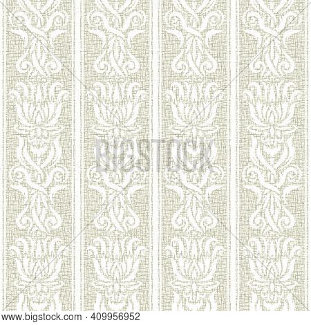 Seamless Pattern With Classic Floral Ornament. White Flowers, Leaves On A Light Gray-brown Backgroun