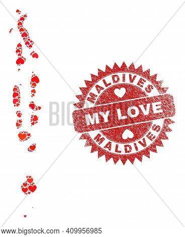 Vector Mosaic Maldives Map Of Valentine Heart Items And Grunge My Love Seal Stamp. Collage Geographi