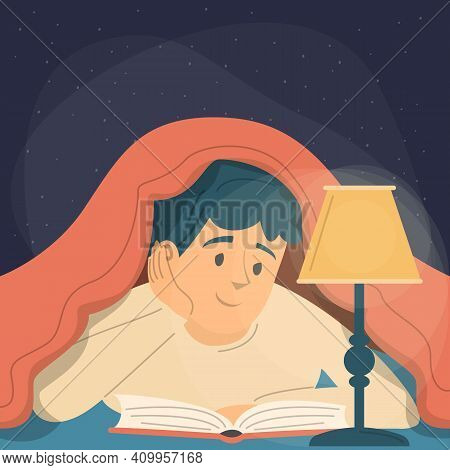 Guy Reading A Book Under The Blanket