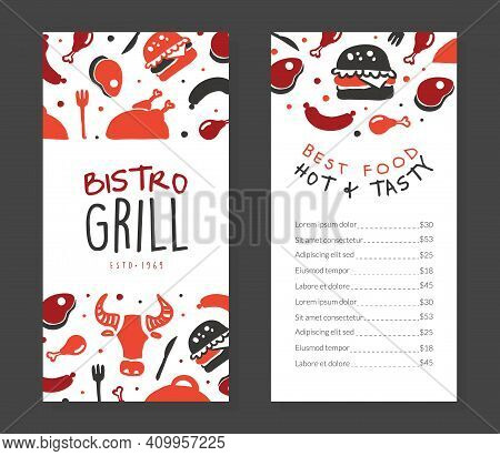 Bistro Gril Menu Template Design, Barbecue House, Restaurant, Bar Poster, Invitation, Flyer, Promo D
