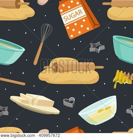 Culinary Products And Kitchen Utensil Seamless Pattern, Culinary And Cooking Background, Wallpaper,