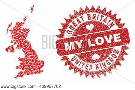 Vector Collage United Kingdom Map Of Love Heart Items And Grunge My Love Stamp. Mosaic Geographic Un
