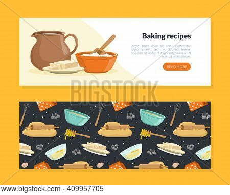 Baking Recipes Landing Page Template, Culinary School, Class, Cooking Recipe, Homemade Food Cartoon
