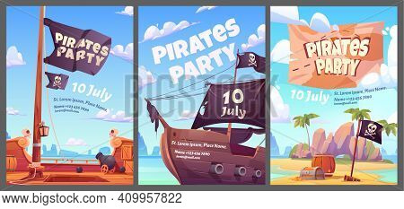 Pirates Party Kids Adventure Cartoon Posters With Treasure Chest With Gold On Secret Island, Filibus