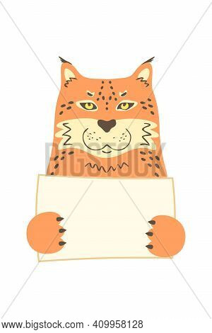 Cute Cartoon Cat Puma Lynx Caracal Holding Tag Sign With Copy Space. Set Greeting Card Banner Invita