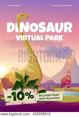 Dinosaur Virtual Park Flyer. Vr Technologies, Augmented Reality With Ancient Reptiles. Vector Poster