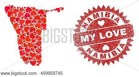 Vector Mosaic Namibia Map Of Valentine Heart Elements And Grunge My Love Stamp. Collage Geographic N
