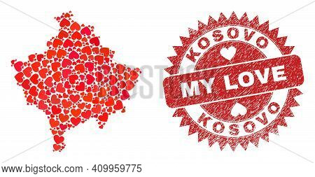 Vector Mosaic Kosovo Map Of Love Heart Elements And Grunge My Love Seal. Collage Geographic Kosovo M