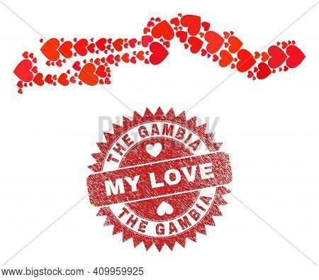 Vector Mosaic The Gambia Map Of Love Heart Items And Grunge My Love Seal. Mosaic Geographic The Gamb