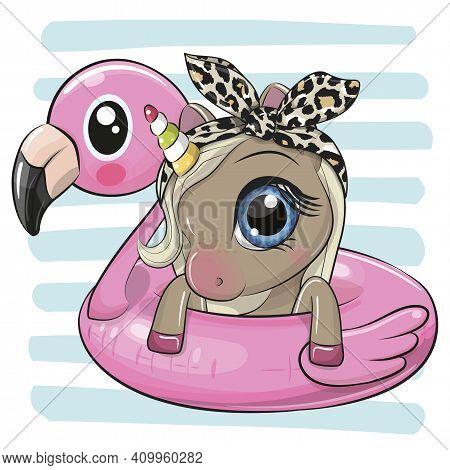 Cute Cartoon Unicorn Swimming On Pool Ring Inflatable Flamingo