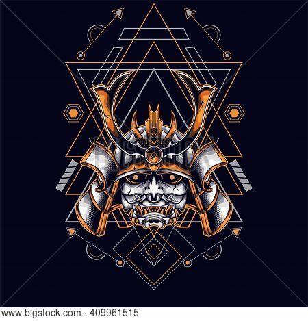 Oni Mask Samurai Head With Sacred Geometry Ornament For T-shirt Design