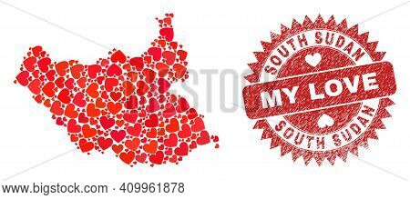 Vector Mosaic South Sudan Map Of Love Heart Elements And Grunge My Love Seal Stamp. Collage Geograph
