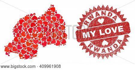 Vector Collage Rwanda Map Of Lovely Heart Elements And Grunge My Love Seal. Mosaic Geographic Rwanda