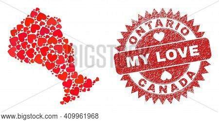 Vector Collage Ontario Province Map Of Love Heart Elements And Grunge My Love Badge. Mosaic Geograph