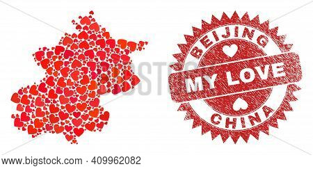 Vector Mosaic Beijing City Map Of Valentine Heart Elements And Grunge My Love Seal. Mosaic Geographi