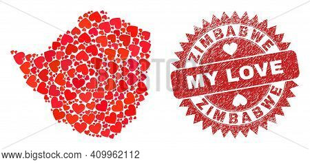 Vector Collage Zimbabwe Map Of Love Heart Items And Grunge My Love Stamp. Collage Geographic Zimbabw