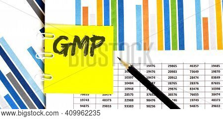 Yellow Sticker With Text Gmp On Chart With Pencil . It Can Be Used As Business And Financial Concept