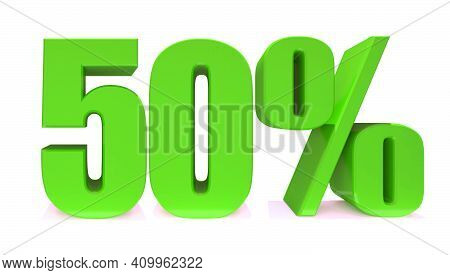50 Percent Off 3d Sign On White Background, Special Offer 50% Discount Tag, Sale Up To 50 Percent Of