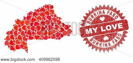 Vector Collage Burkina Faso Map Of Lovely Heart Elements And Grunge My Love Badge. Collage Geographi