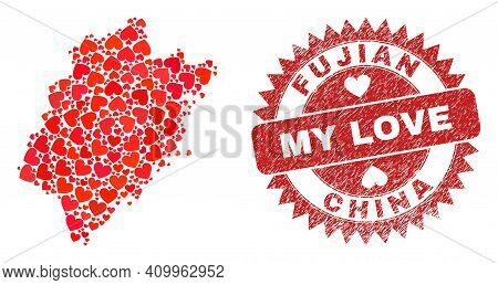 Vector Collage Fujian Province Map Of Lovely Heart Elements And Grunge My Love Seal. Collage Geograp