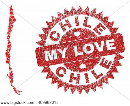 Vector Collage Chile Map Of Love Heart Items And Grunge My Love Seal Stamp. Collage Geographic Chile