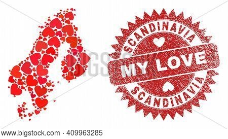 Vector Mosaic Scandinavia Map Of Valentine Heart Items And Grunge My Love Seal. Mosaic Geographic Sc