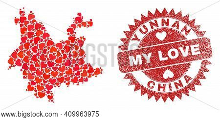 Vector Mosaic Yunnan Province Map Of Valentine Heart Elements And Grunge My Love Badge. Mosaic Geogr
