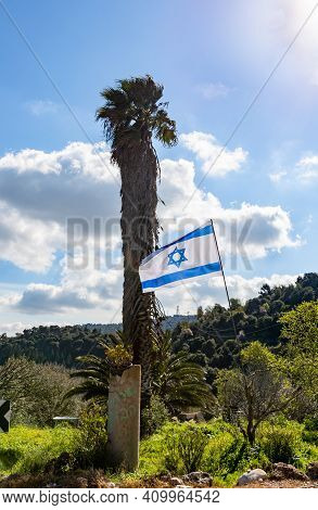 The Flag Of The State Of Israel Flies In The Wind In A Forest Plantation Near A Date Palm In Norther