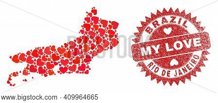 Vector Mosaic Rio De Janeiro State Map Of Lovely Heart Elements And Grunge My Love Seal. Collage Geo