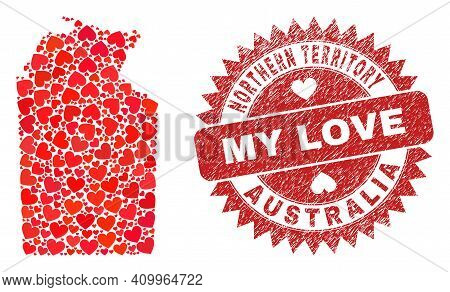 Vector Collage Australian Northern Territory Map Of Valentine Heart Elements And Grunge My Love Badg