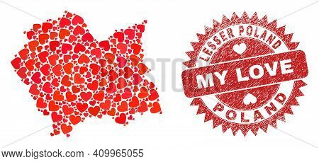 Vector Mosaic Lesser Poland Voivodeship Map Of Love Heart Elements And Grunge My Love Seal Stamp. Mo