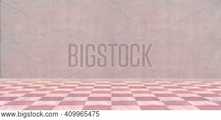 Terracotta Floor Tiles Red Pink Color And Empty Wall Background
