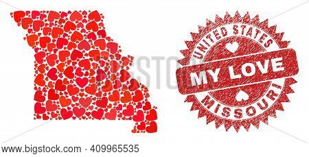 Vector Mosaic Missouri State Map Of Love Heart Items And Grunge My Love Badge. Mosaic Geographic Mis