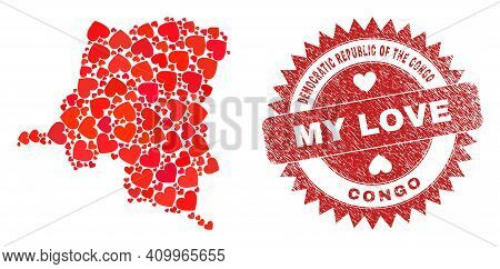 Vector Collage Democratic Republic Of The Congo Map Of Love Heart Items And Grunge My Love Seal Stam