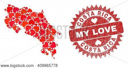 Vector Collage Costa Rica Map Of Love Heart Items And Grunge My Love Seal Stamp. Collage Geographic