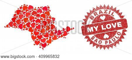 Vector Collage Sao Paulo State Map Of Love Heart Items And Grunge My Love Stamp. Collage Geographic