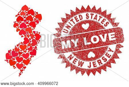 Vector Collage New Jersey State Map Of Valentine Heart Items And Grunge My Love Stamp. Collage Geogr