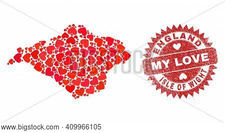 Vector Collage Isle Of Wight Map Of Valentine Heart Items And Grunge My Love Badge. Collage Geograph