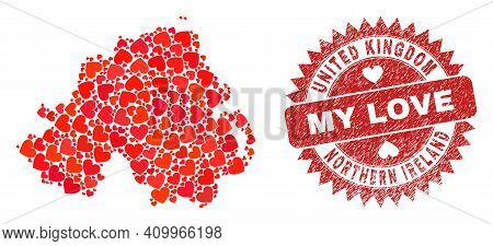 Vector Collage Northern Ireland Map Of Valentine Heart Items And Grunge My Love Badge. Collage Geogr