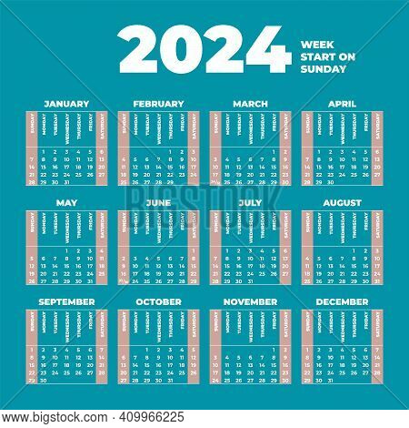 2024 Calendar Template With Weeks Start On Sunday
